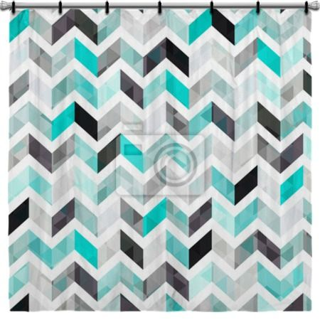 Turquoise And Gray Chevron Shower Curtain