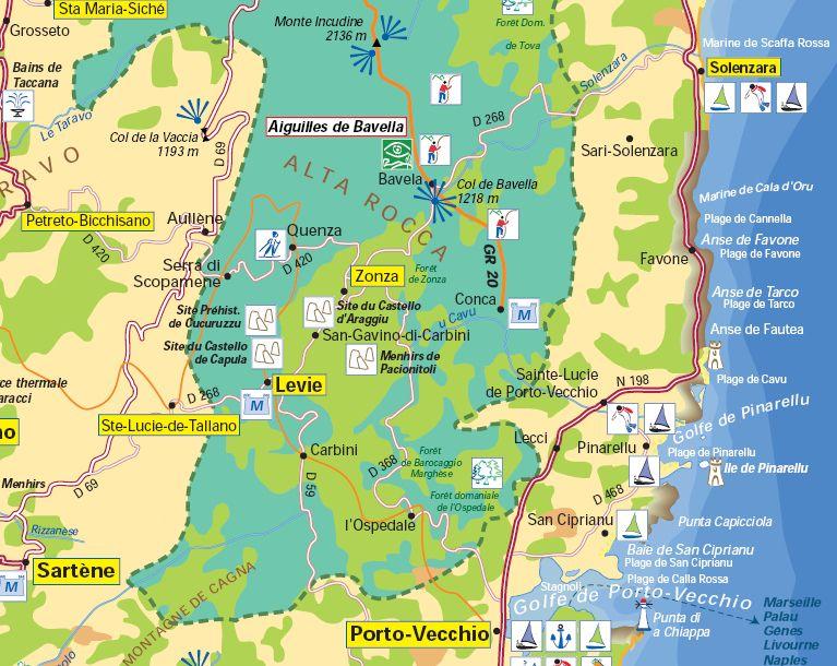 Carte Corse Sud Est.L Alta Rocca Est Une Vaste Region Qui Se Situe Au Sud Est De
