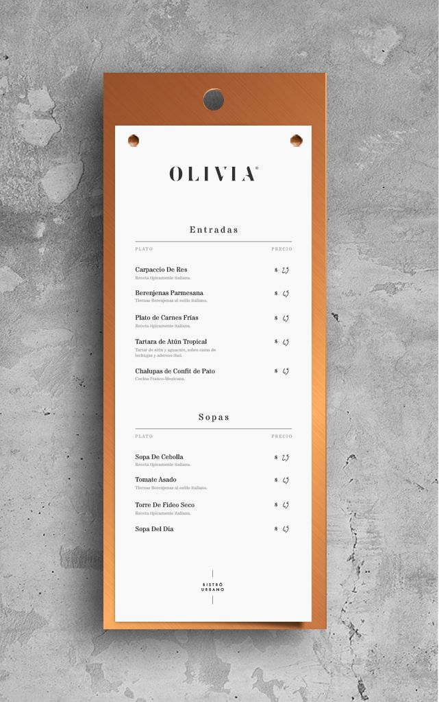 Olivia Bistró para Bunker3022 on Behance | Branding | Pinterest ...