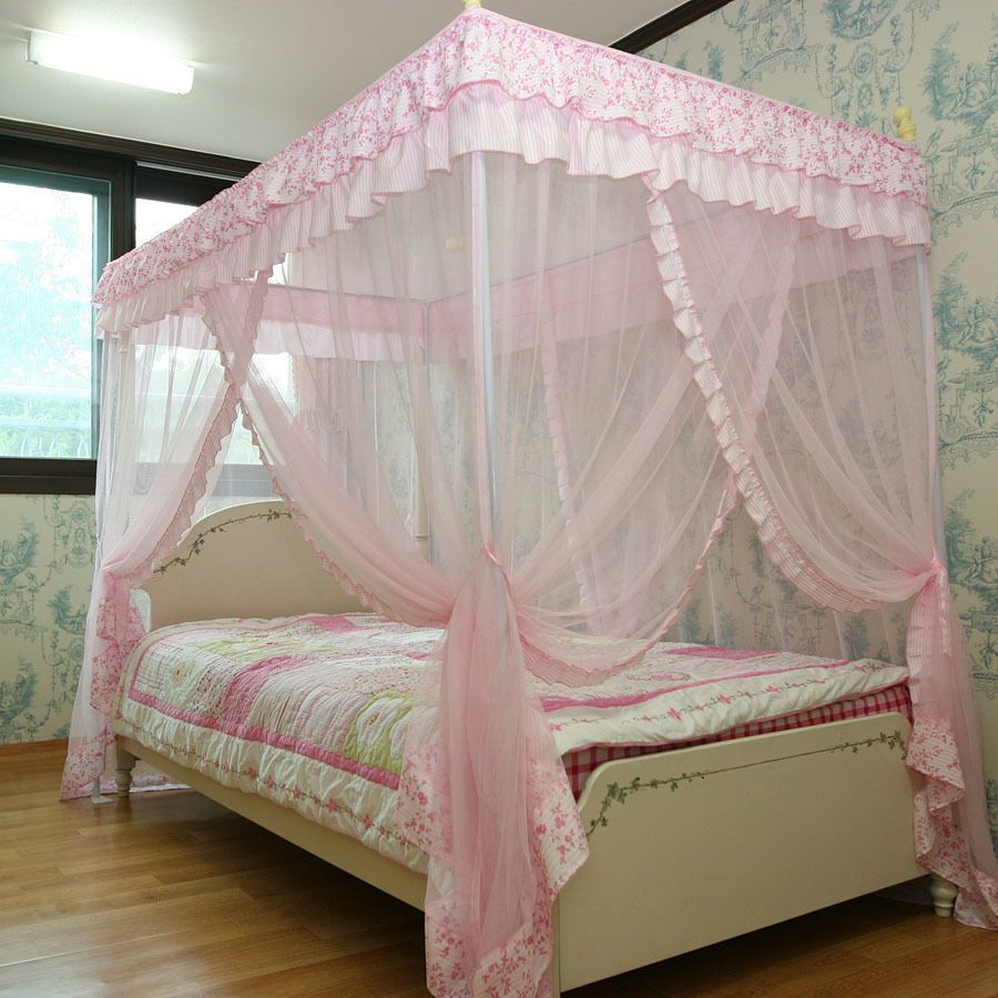 Pink Luxury 4 Post Lace BED Canopy SET Mosquito NET 125x205 Single Size NEW | eBay & Pink Luxury 4 Post Lace BED Canopy SET Mosquito NET 125x205 Single ...