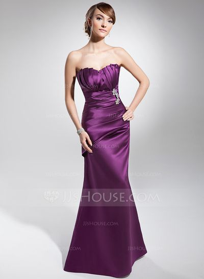 Evening Dresses - $132.99 - Trumpet/Mermaid Scalloped Neck Floor-Length Satin Evening Dress With Ruffle Beading (017014677) http://jjshouse.com/Trumpet-Mermaid-Scalloped-Neck-Floor-Length-Satin-Evening-Dress-With-Ruffle-Beading-017014677-g14677?snsref=pt&utm_content=pt