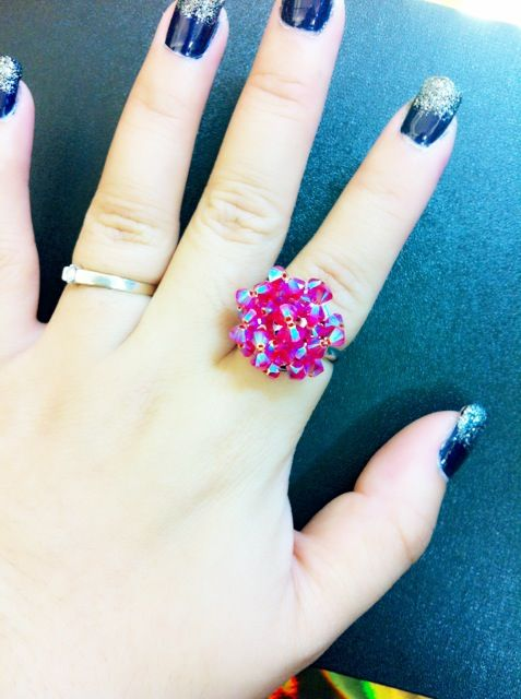 Handmade new Swarovski crystal ring  http://www.crystaldollies.com