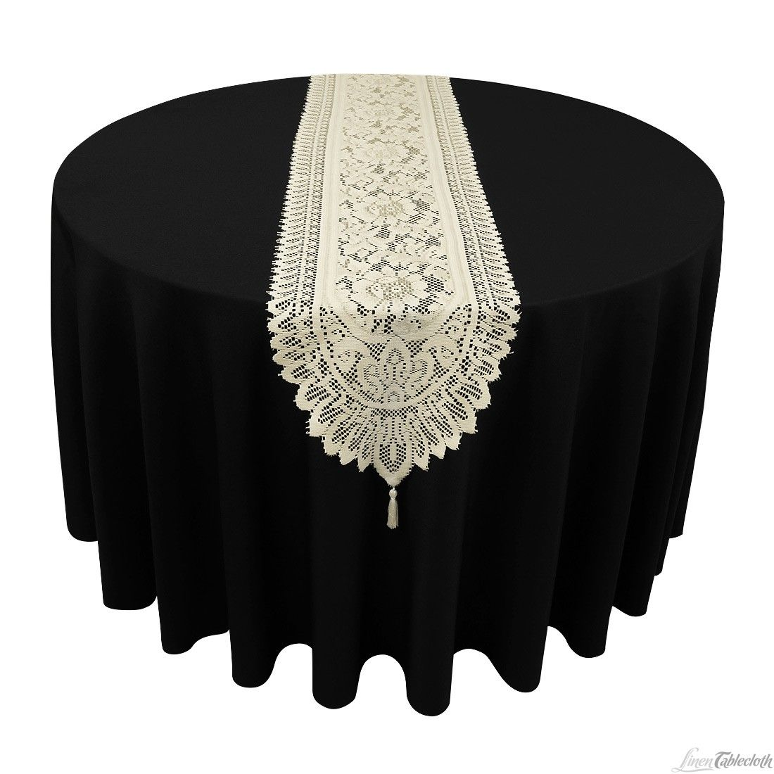 Black Tablecloth With Ivory Lace Runner Lace Table Lace