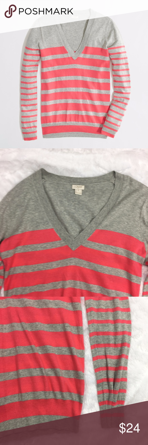 J. Crew Sweater Size S Double Stripe V-Neck Gray Brand: J. Crew Size: Small Material: Please see picture of tag in listing Condition: Previously owned, excellent used condition Measurements: Length: 26 Bust 19 Inventory id:1249 Other Info:v-neck J. Crew Sweaters V-Necks