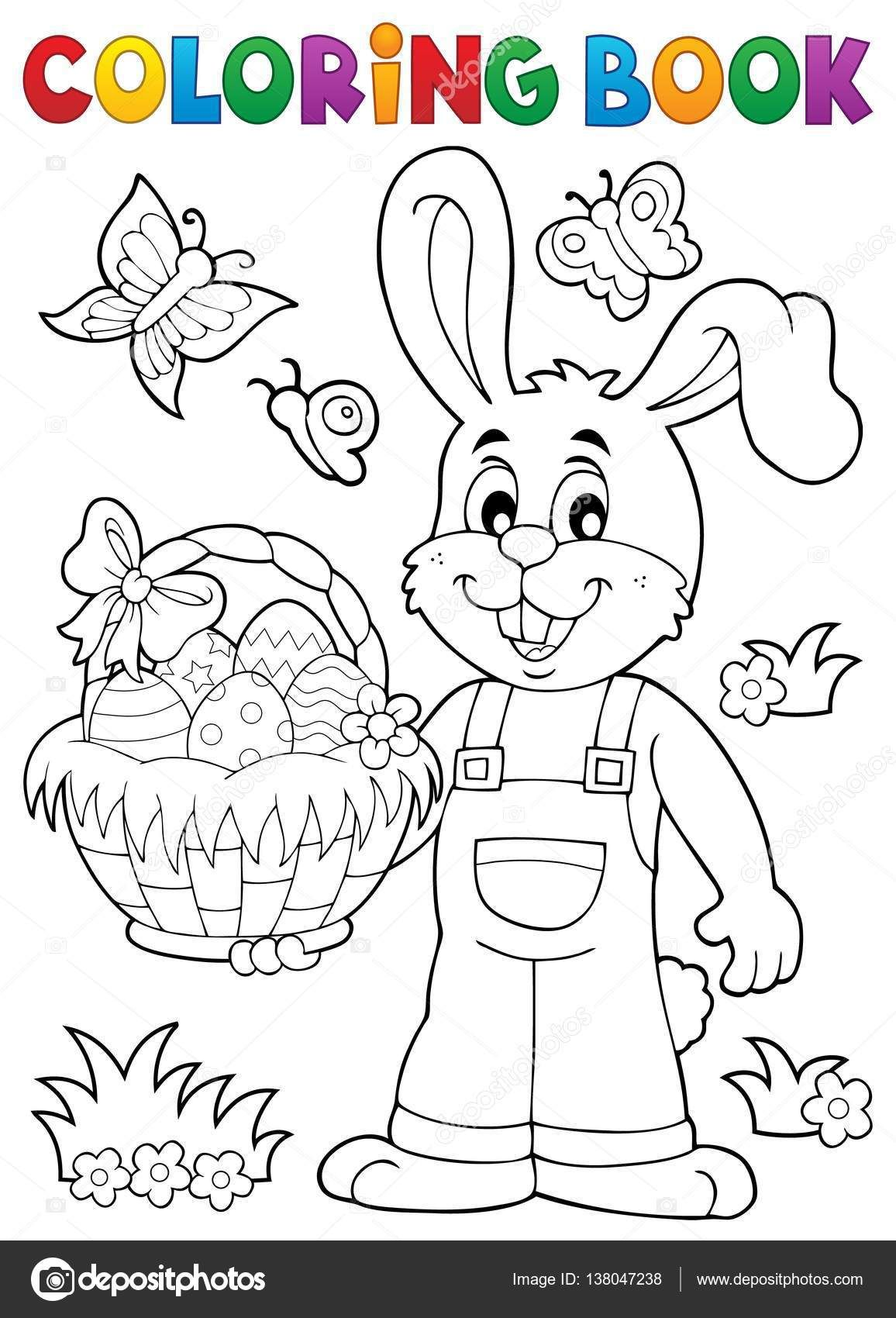 Depositphotos 138047238 Stock Illustration Coloring Book Easter Rabbit Theme Jpg 1156 1700 Easter Coloring Book Coloring Books Easter Coloring Pages Printable