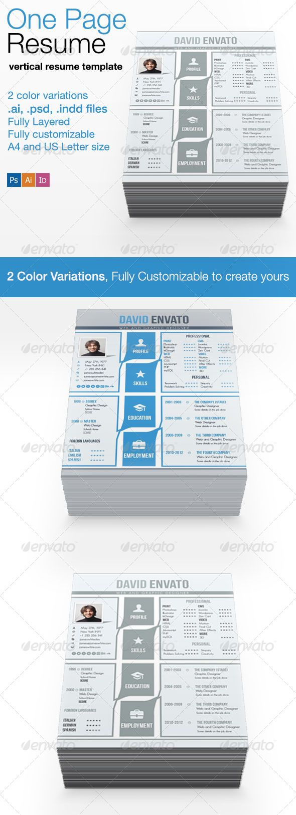 one page resume  graphicriver another great way to stand