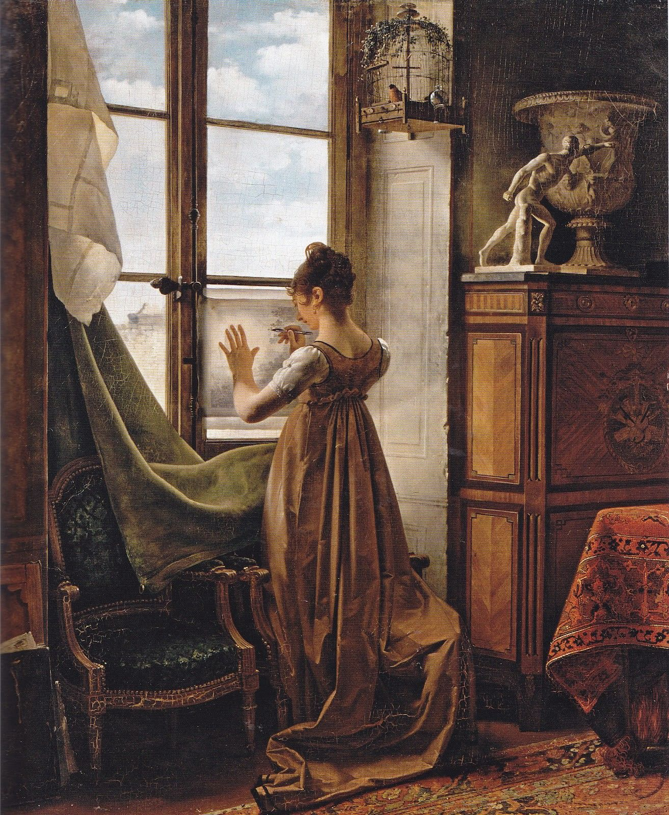 WOMAN AT A WINDOW 1822 ROMANTIC ERA PAINTING BY CASPAR DAVID FRIEDRICH REPRO