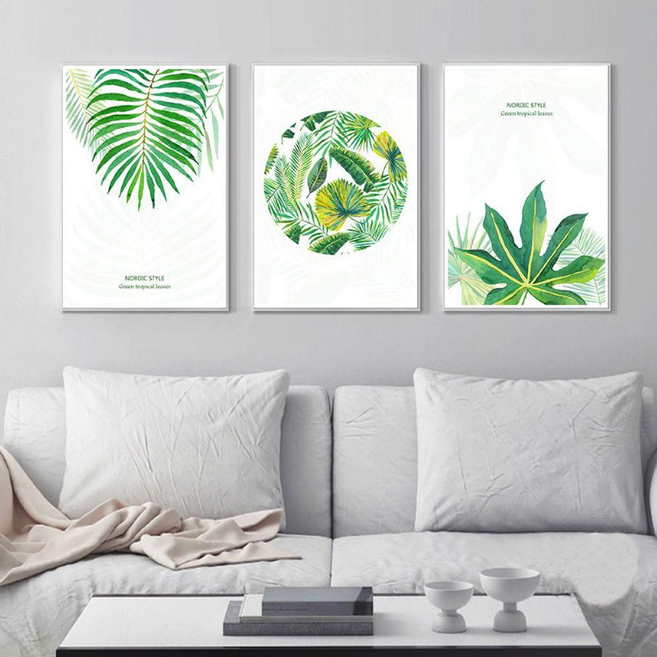 NUEVA Acuarela Verde Tropical Lienzos Nórdico Impresión Del Cartel ...