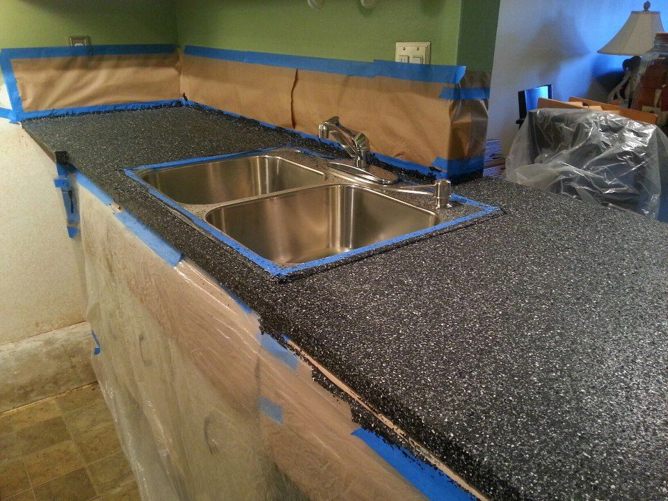 Our Countertops After Using Rust Oleum Transformations Charcoal