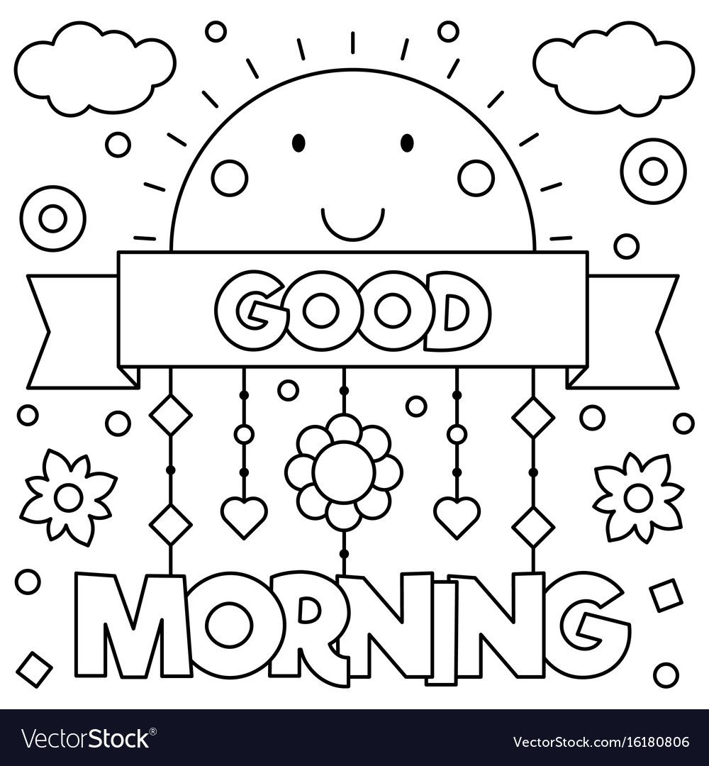 Good Morning Coloring Page Vector Image On Coloring Pages