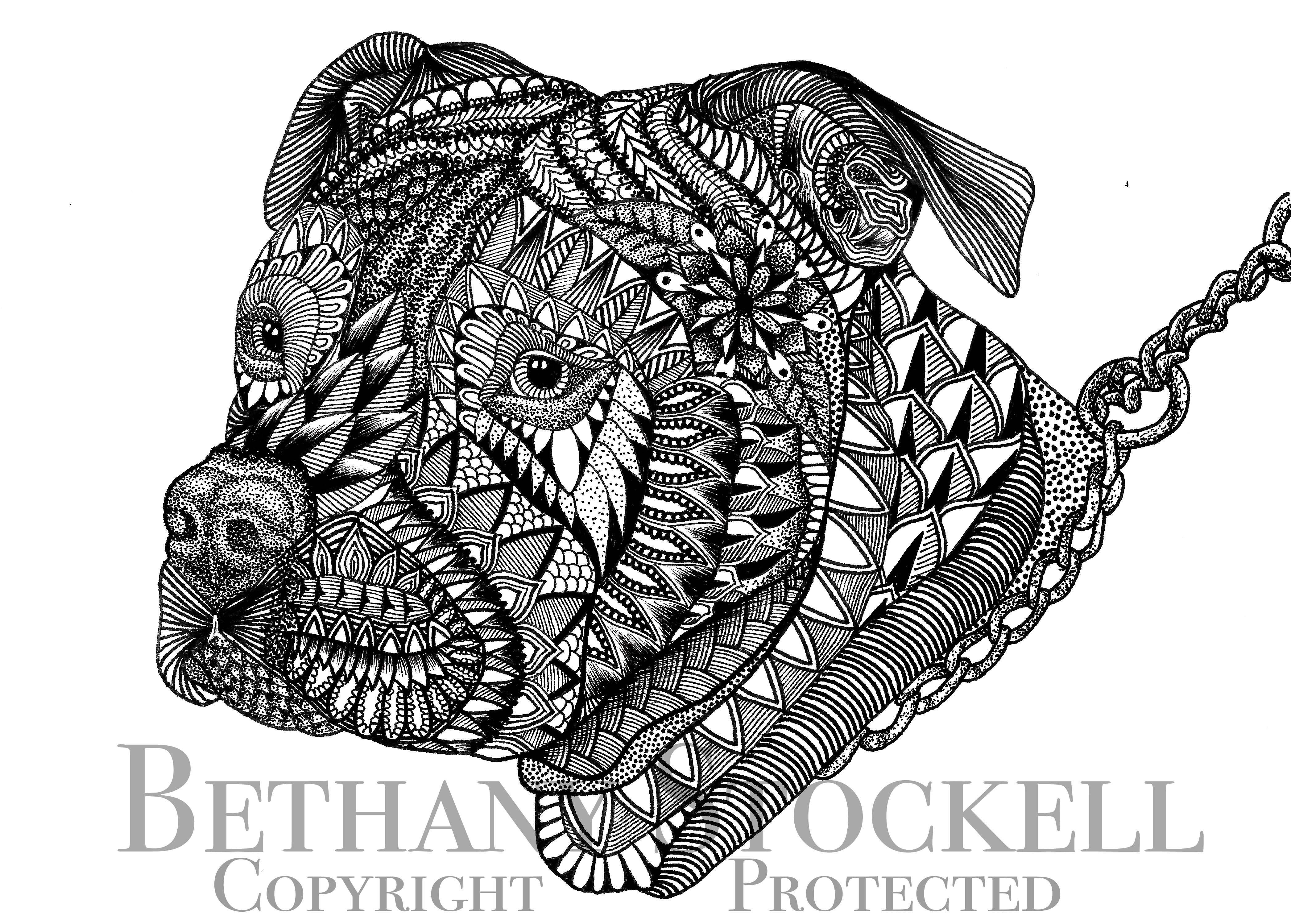 Pitbull Mandala Drawing By Bethany Stockell Bls Designs All