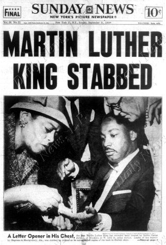 front page of the daily news dated sept  21  1958 headline  martin luther king stabbed the rev