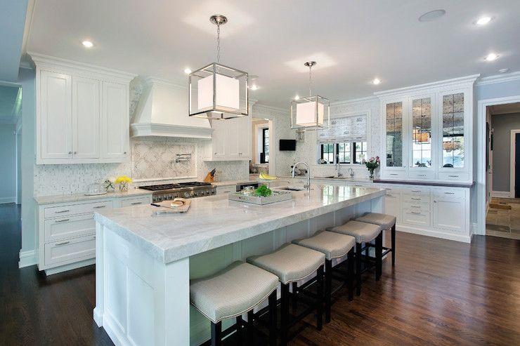 Black Kitchen Island With Taj Mahal Quartzite Countertop   Transitional    Kitchen