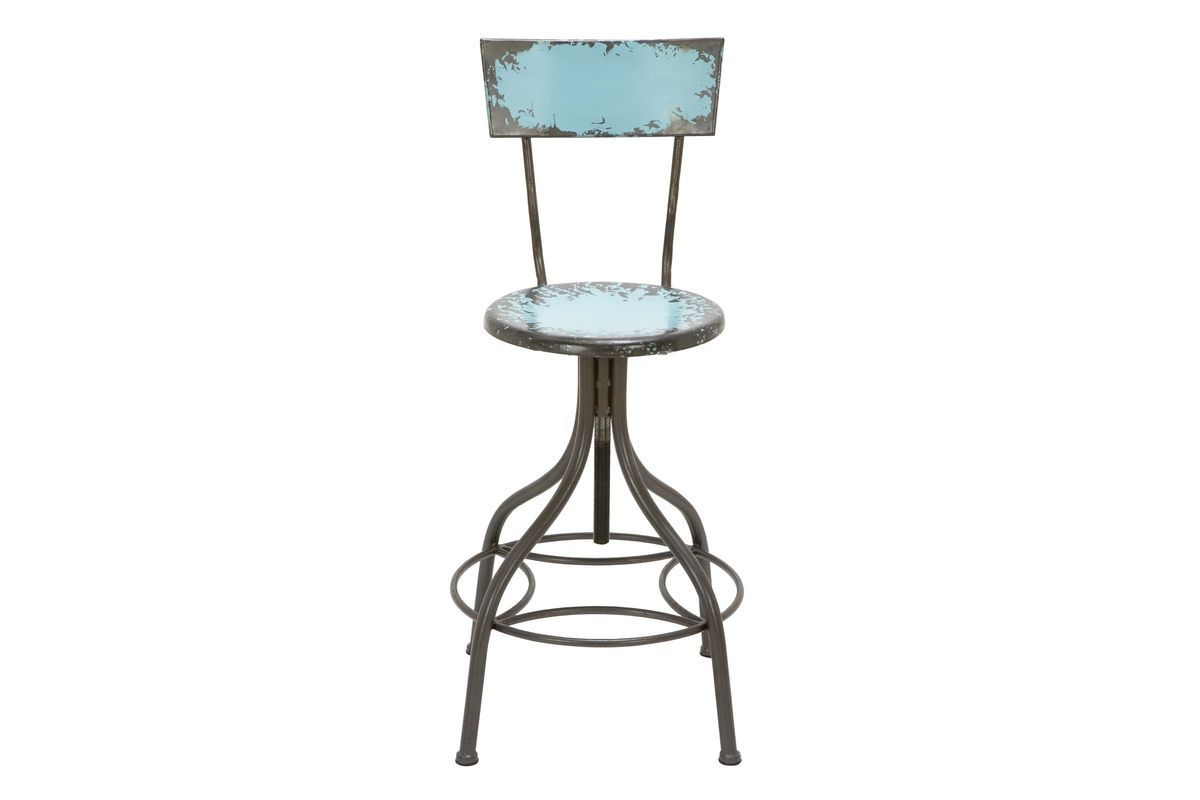 Magnificent Distressed Iron Bar Chair In Light Blue In 2019 Metal Bar Gamerscity Chair Design For Home Gamerscityorg