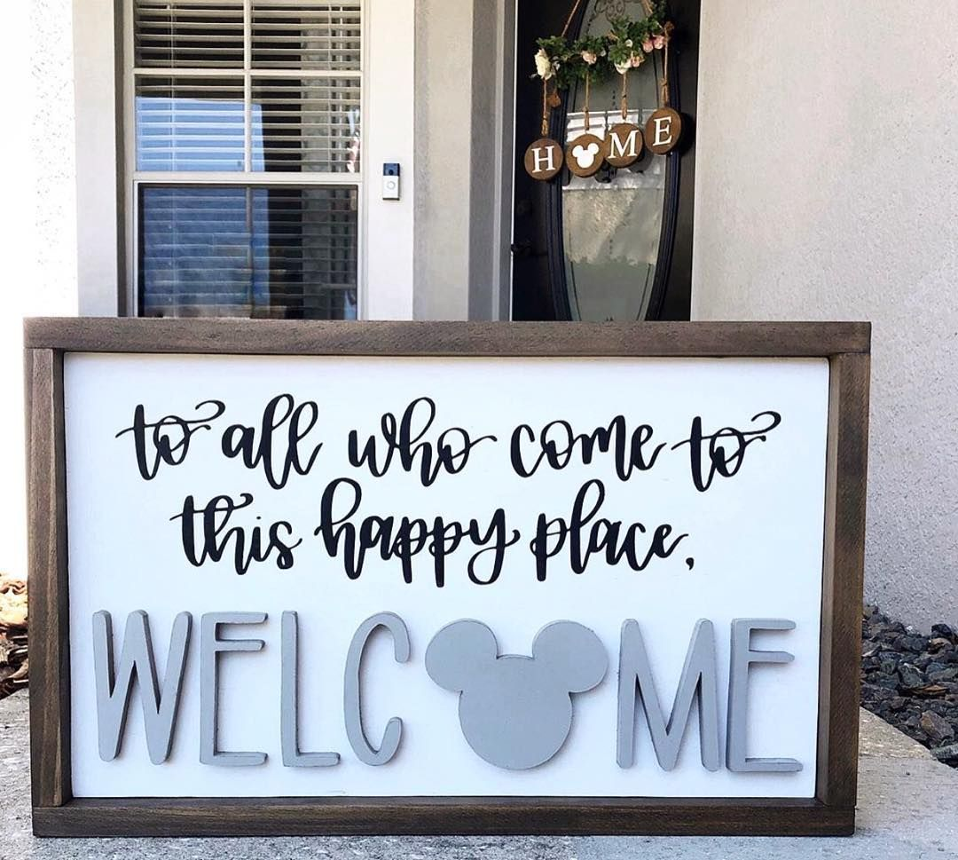 "Disney At Home on Instagram: ""What a perfect welcome sign from our friend @fortheloveofcraftsbyrbt! We love how she blends our love of farmhouse and Disney! Thank you so…"" #disneyrooms"