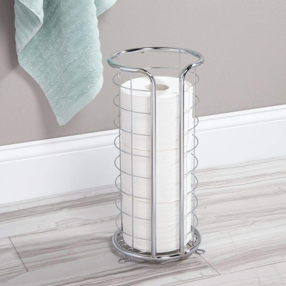Mdesign Decorative Metal Free Standing Toilet Paper Holder Stand With Storage Fo Toilet Paper Holder Stand Free Standing Toilet Paper Holder Toilet Paper Stand