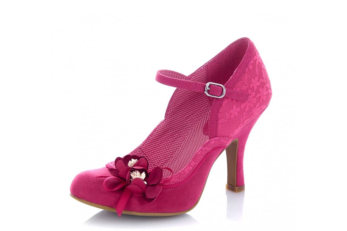Ruby Shoo Silvia Fuchsia Pink Lace High Heel Mary Jane Flower Shoes