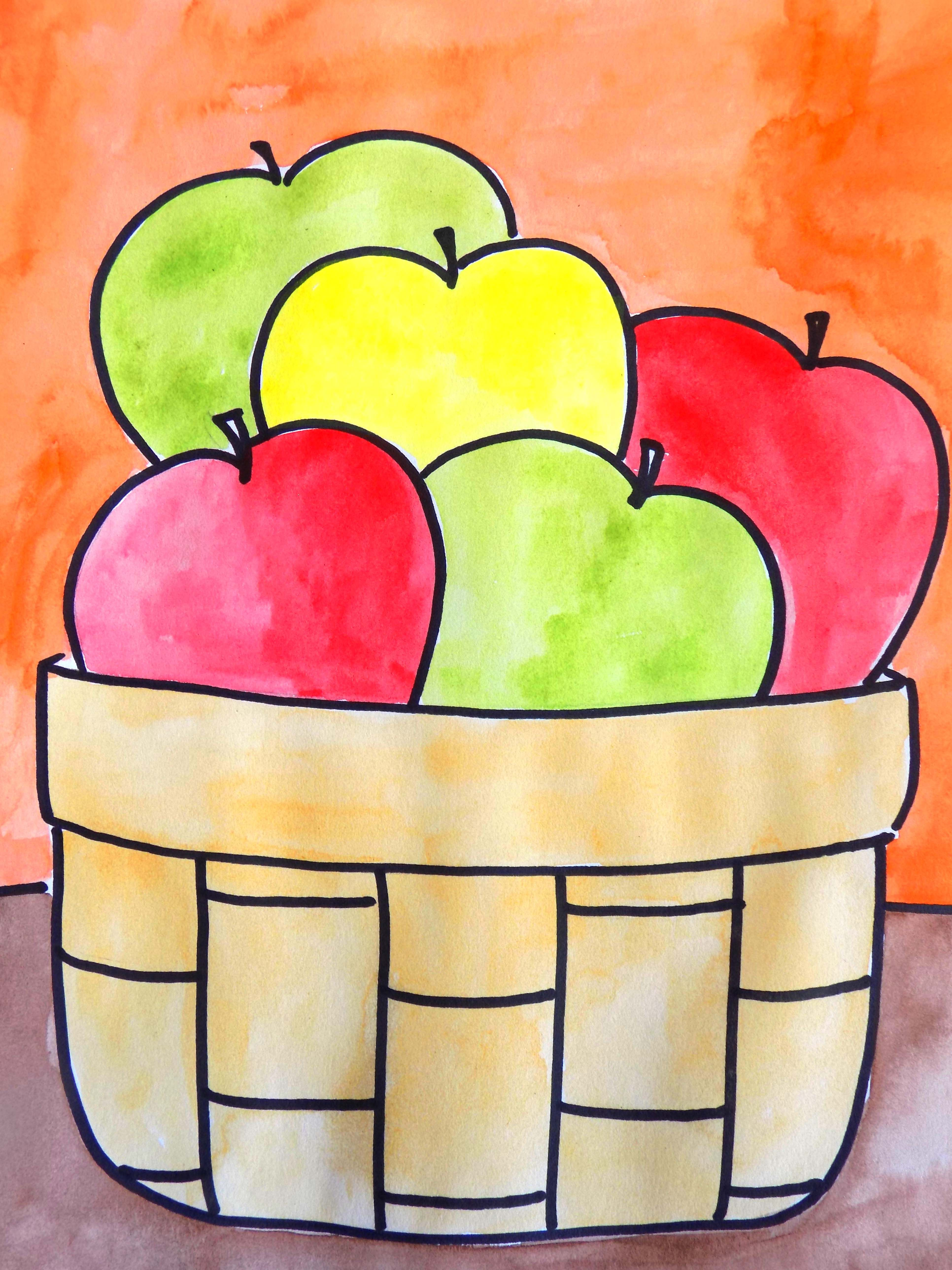 Apple perspective lesson art art drawings for kids