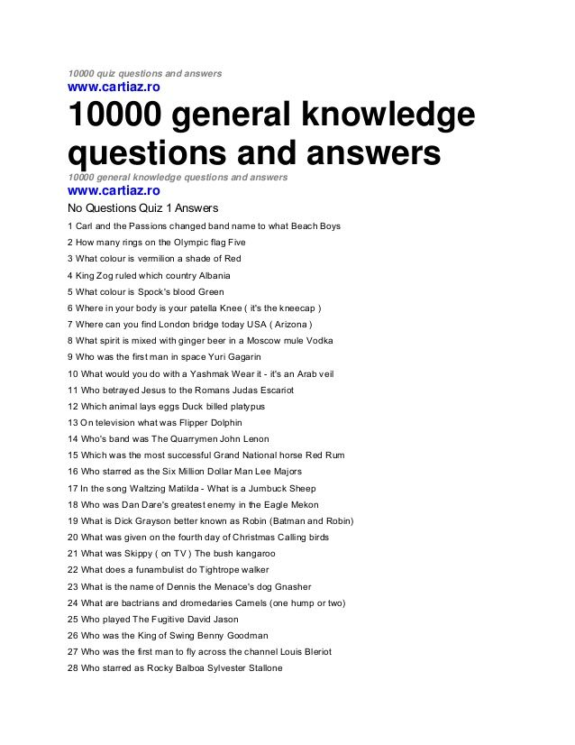 graphic relating to Printable Trivia Questions and Answers identified as 10000 quiz queries and answerswww.cartiaz.ro10000 over-all