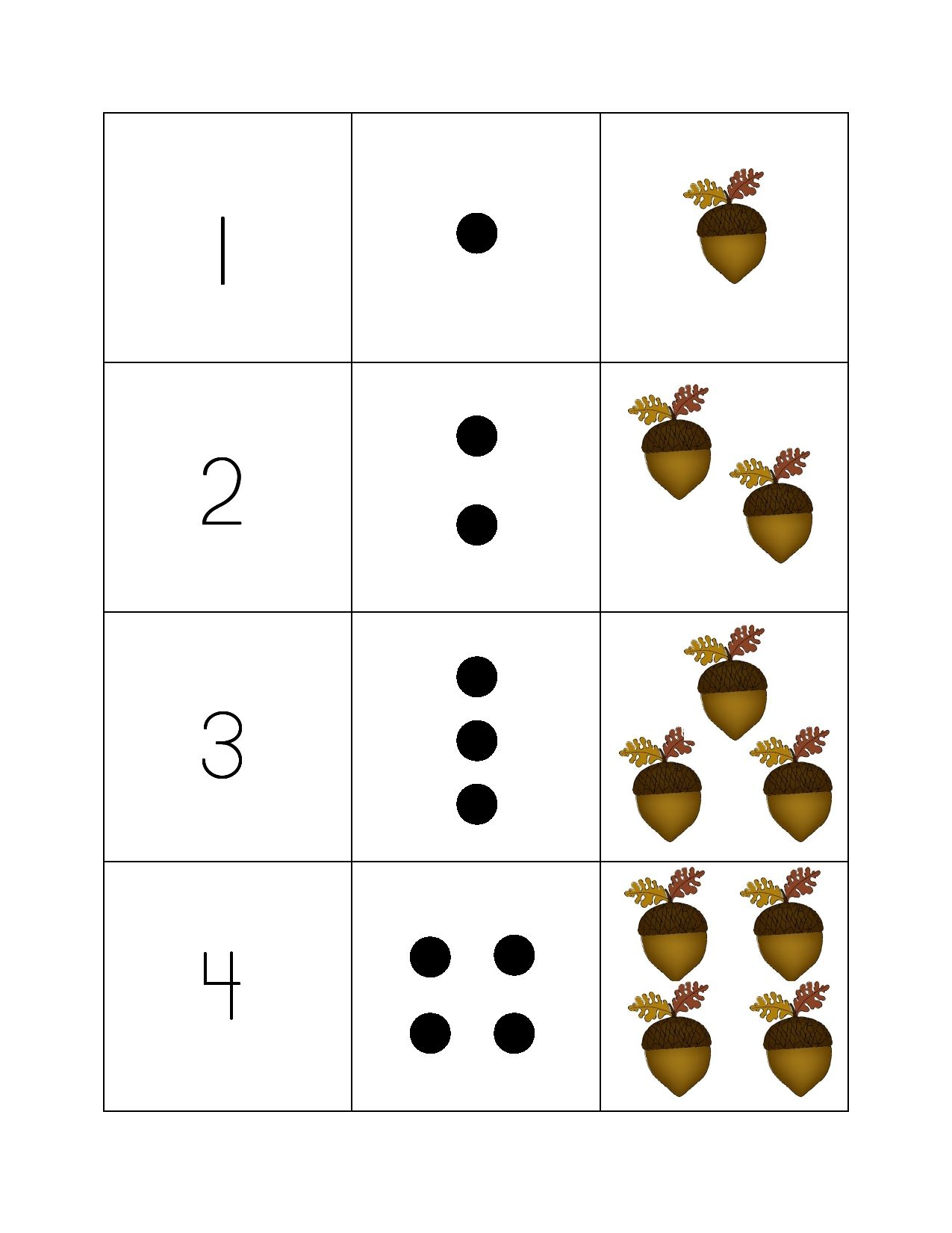 The Acorn Counting Game Teaches Number Recognition As Well As Basic Counting Skills