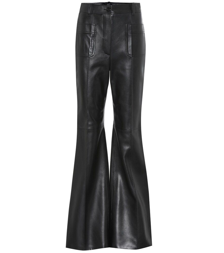 GUCCI HIGHRISE LEATHER BOOTCUT PANTS