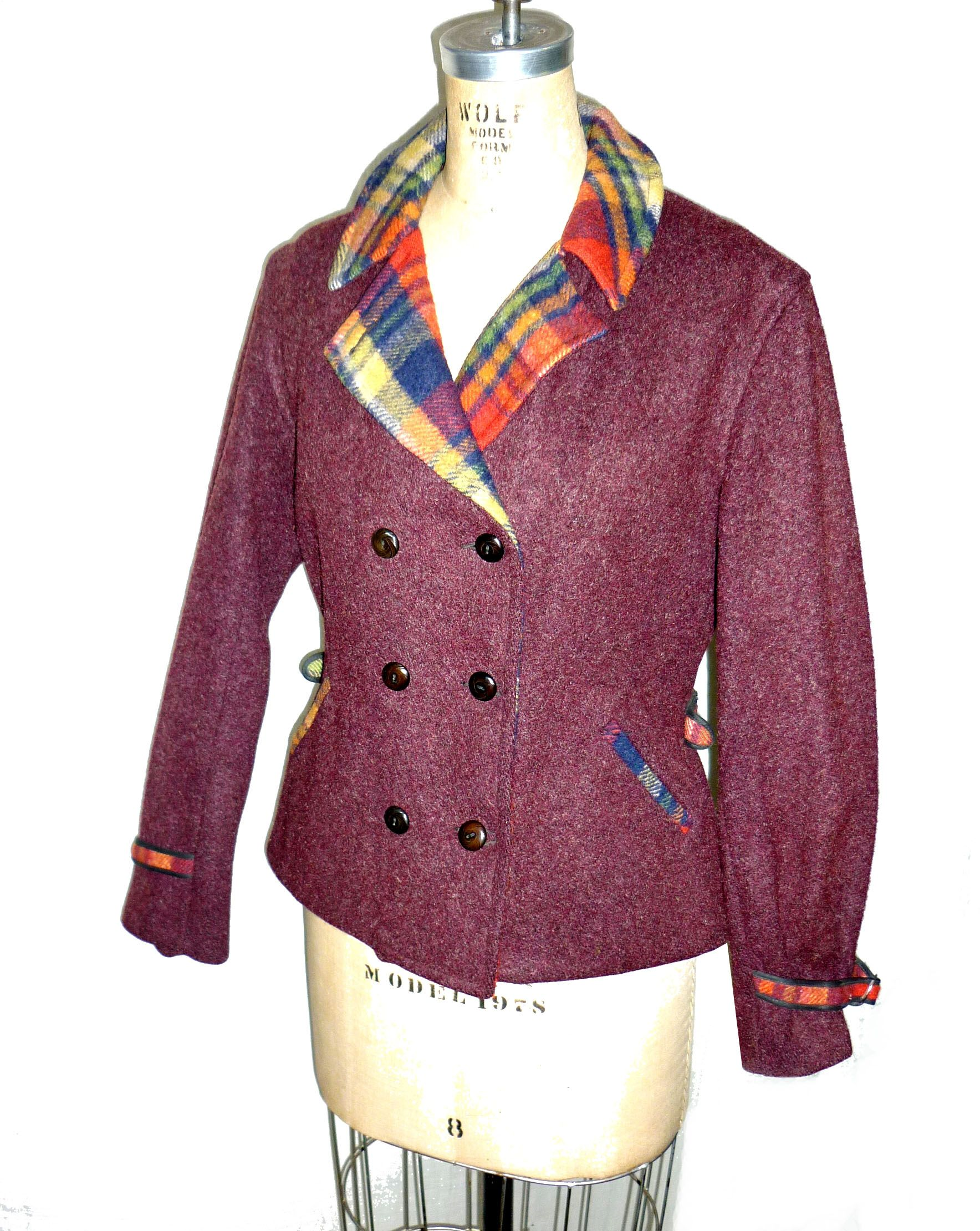 Late 1930's woman's wool jacket with Norfolk back.    We carry outer jackets, capes, capelets, coats from mid-1800s to 1970s.