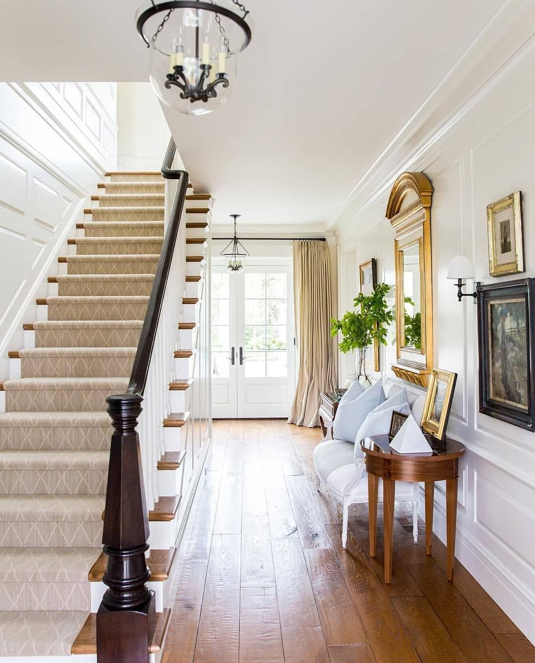 """20 Excellent Traditional Staircases Design Ideas: Elizabeth On Instagram: """"A Pretty Light And Bright Entry"""