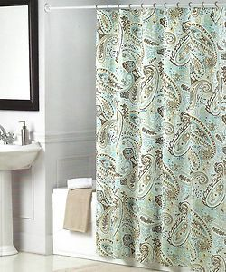 DREAM AT HOME PEACOCK ALLEY BLUE CHOCOLATE BROWN TAN PAISLEY SHOWER CURTAIN