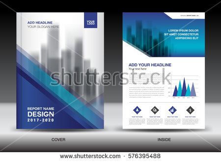 Annual Report Brochure Flyer Template Blue Cover Design Business