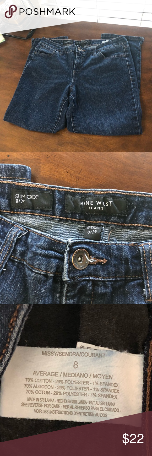 Nine West Slim Cropped Jeans Size 8 29 Euc Size 8 29 Waist 15 Inches Inseam 24 Inches Measurements Are Approxim Cropped Jeans Nine West Jeans Size