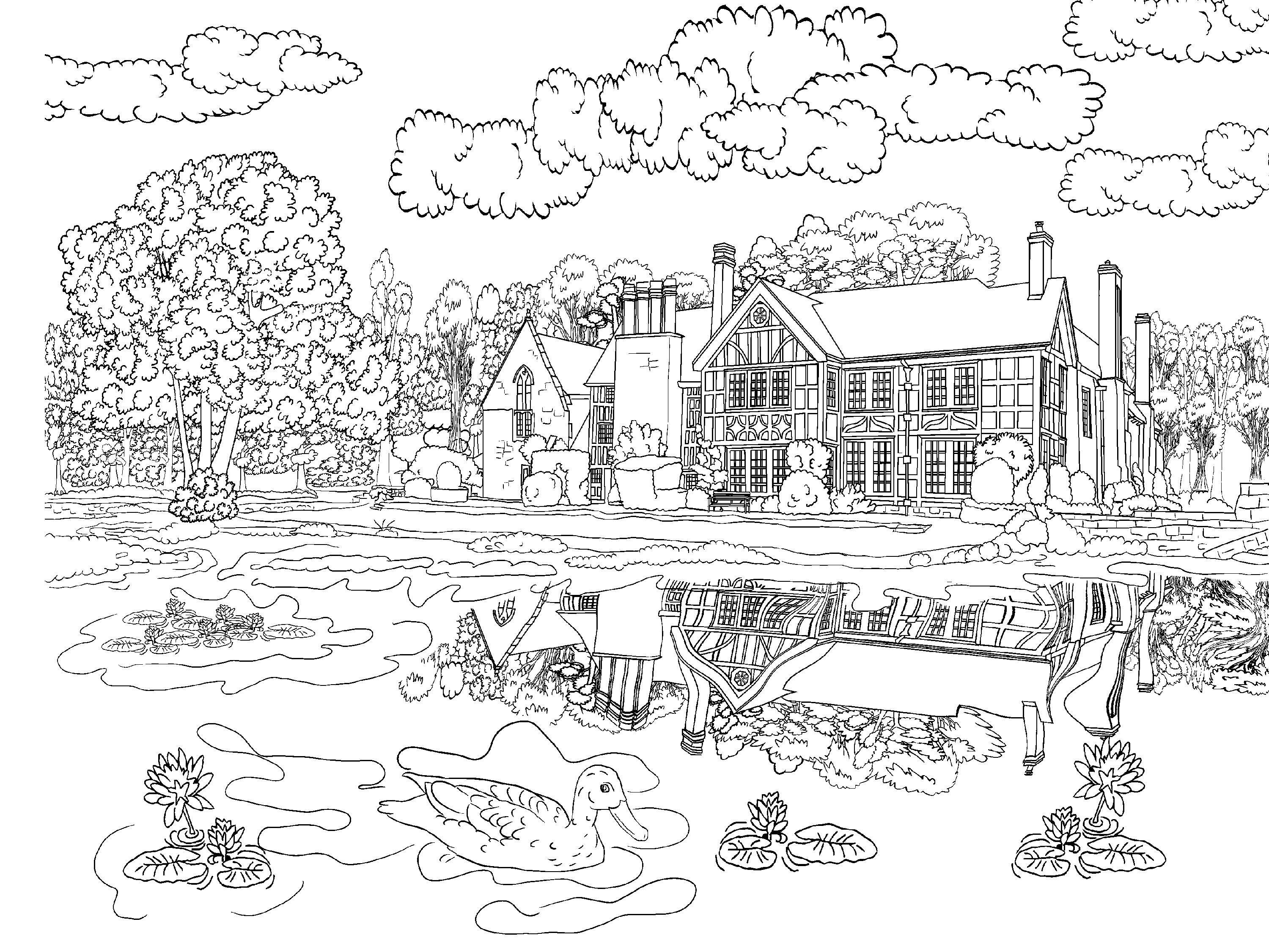 Beautiful Scenery Colouring Pages Coloring Pages Nature Adult