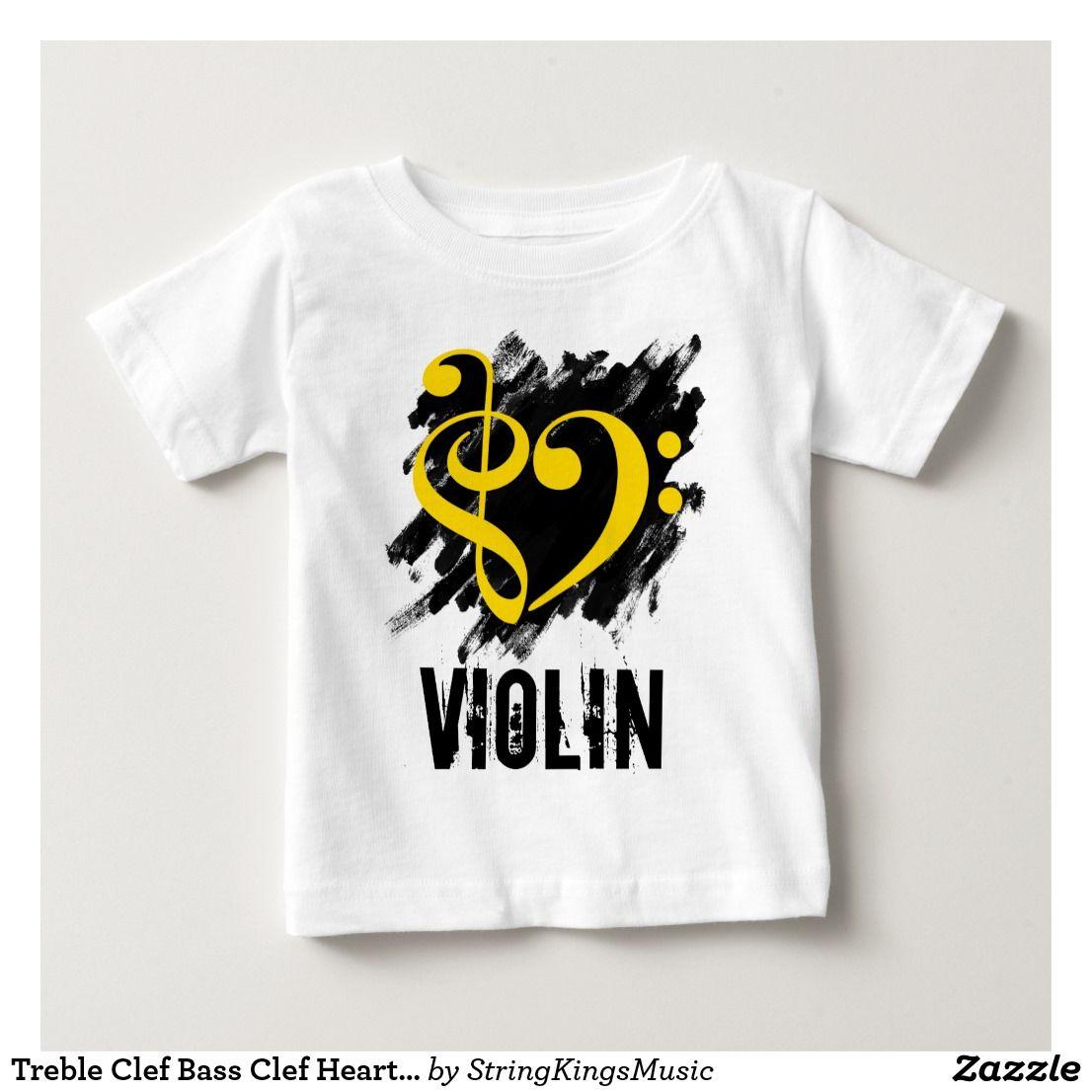 Treble Clef Bass Clef Heart Grunge Violin Baby T-Shirt
