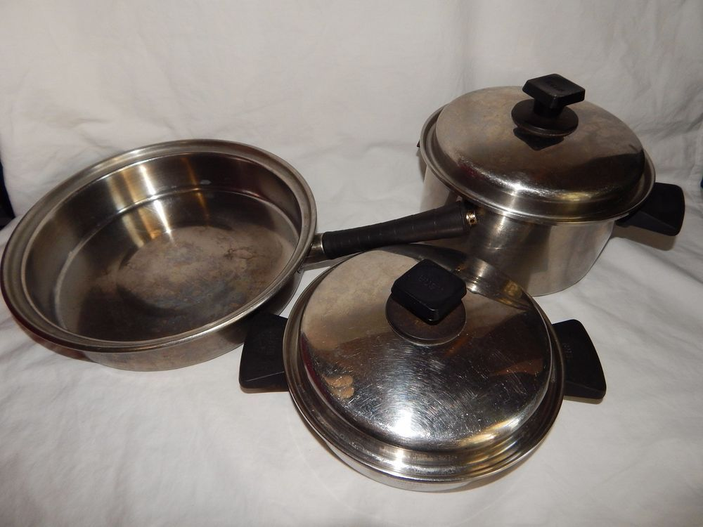 5 Pcs Of Vintage Rena Ware Cookware 3 Ply Set 9 5 Skillet Stock