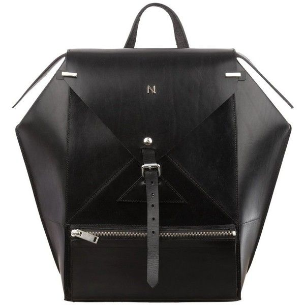 Hexane Black Leather Luxury Backpack Nicolas Theil (4.285 BRL) ❤ liked on Polyvore featuring bags, backpacks, sac, daypack bag, knapsack bag, real leather backpack, backpack bags and rucksack bags