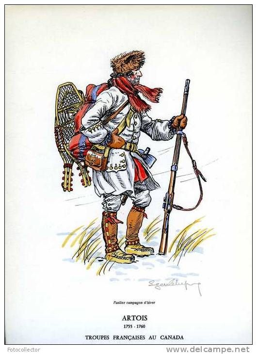 Troupes françaises au Canada (1755-1760) 12 gravures signées d ...