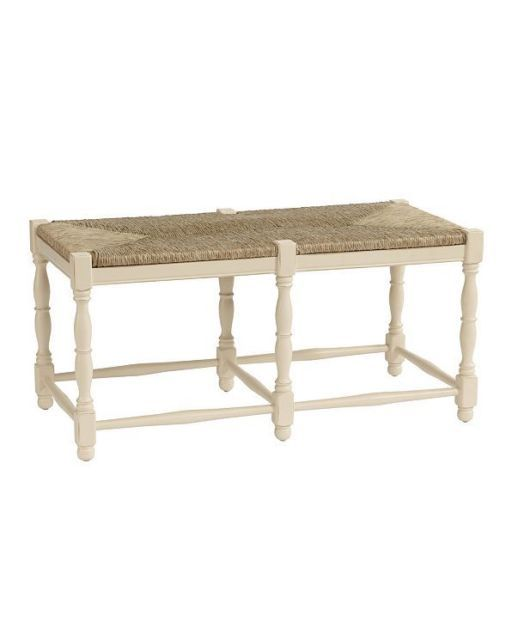 New French Country Bench Cream Woven Seat Beechwood Entryway 2 Clic