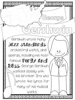 American Composers Coloring Fact Sheets Freebie Music