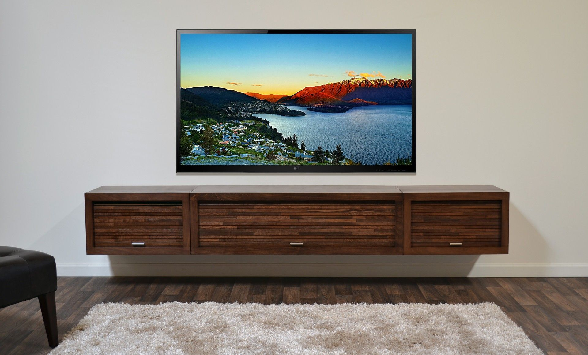 furniture lcd tv and rectangle brown wooden floating tv stand on