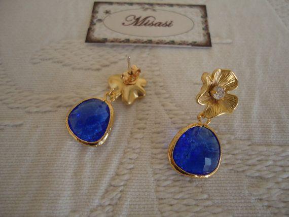 Pendientes cristal azul cobalto por MisasiVintage en Etsy