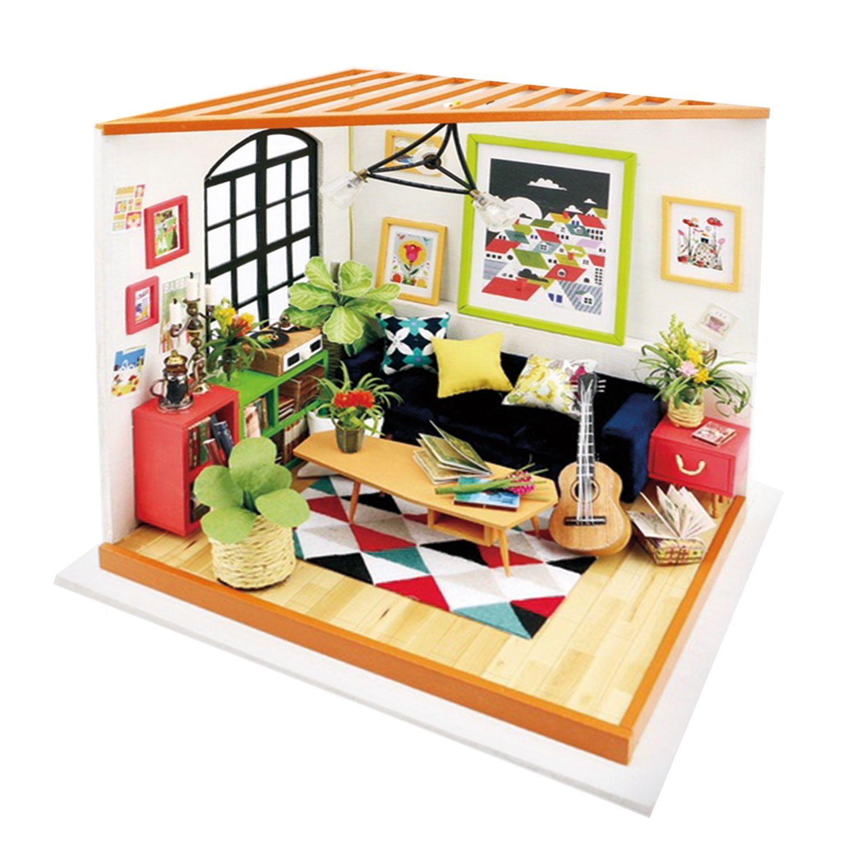 Diy Miniature Sitting Room Kit in 2020 Wooden dollhouse
