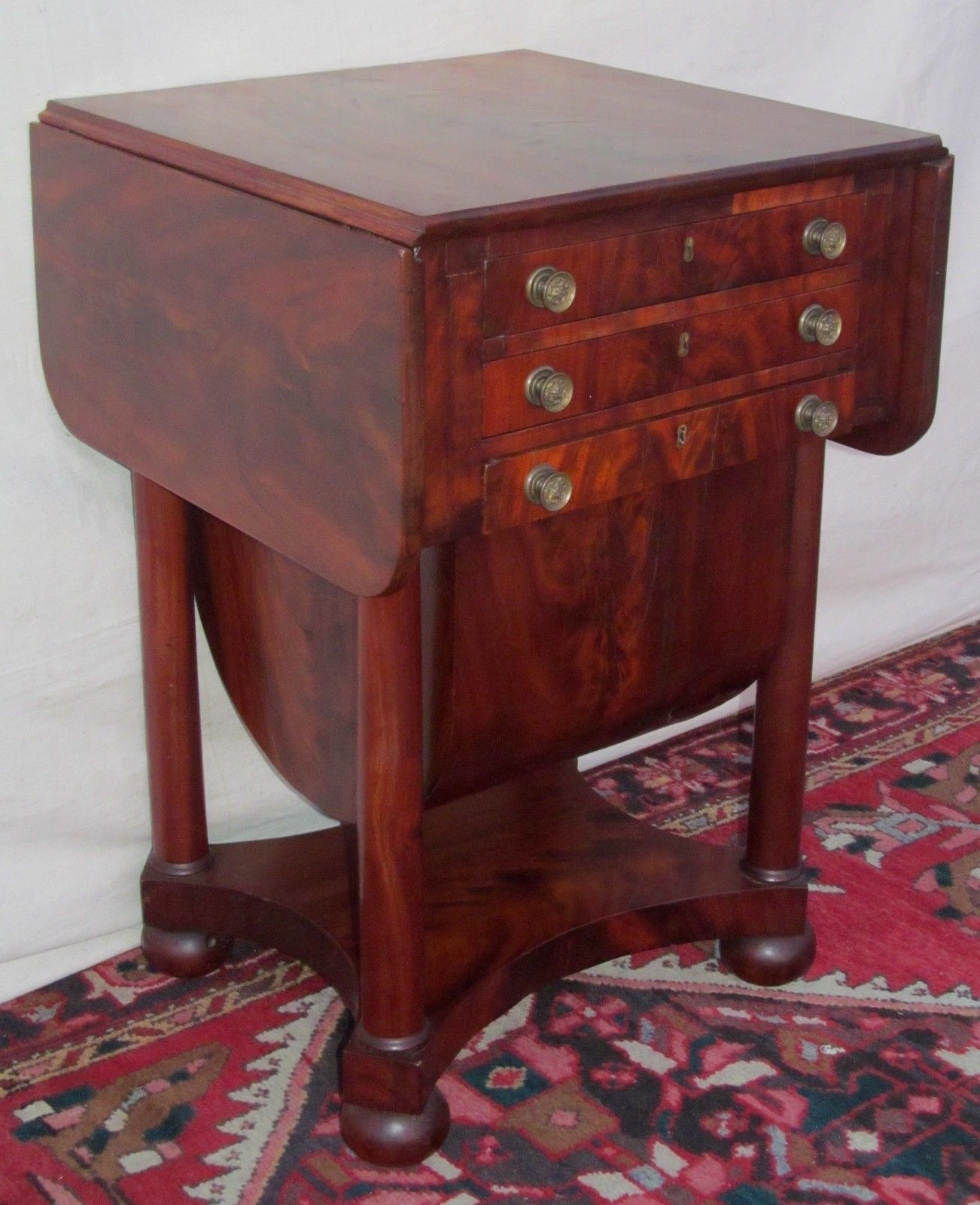 Mahogany antique furniture 2 best images collections hd for gadget - Federal Mahogany Sow Belly Work Table Attributed To Issac Vose Boston Mass