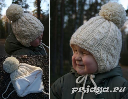 детская шапка ушанка спицами вязанные штучки шапка ушанка