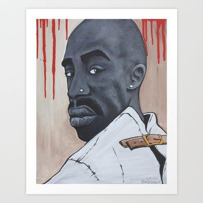 Vibe Magazine Cover Art Of Tupac Shakur  Art Print by Adam Valentino - $17.68