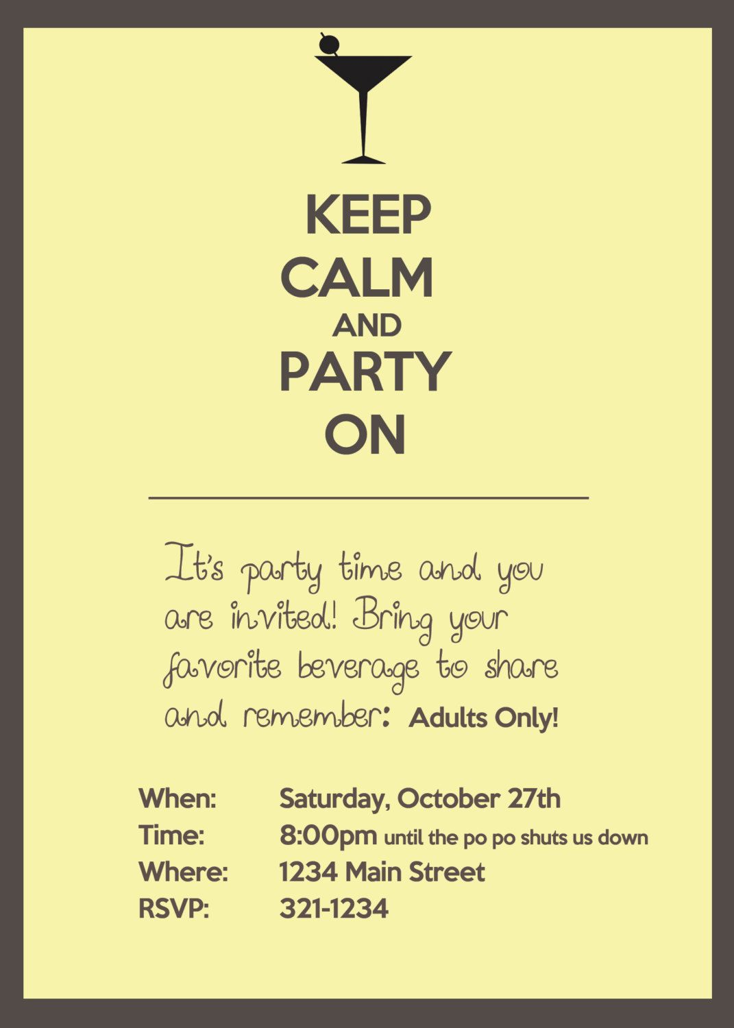 Keep Calm and Party On, Adult party invitation. $15.00, via Etsy ...