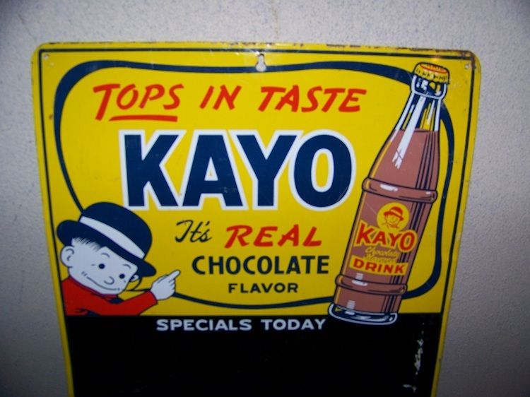 1940's Kayo Chocolate Flavor Soda Pop Bottle  Metal Sign