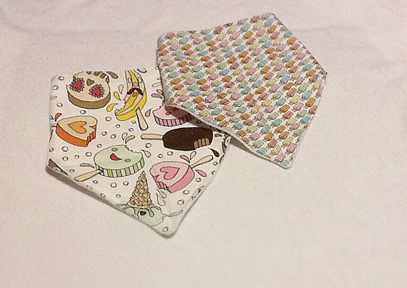 Bandana bib, baby to toddler adjustable bibs, set of two. Summer Fun Treats,Popsicles  on Etsy, $20.00 CAD