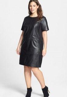 nordstrom leather knit dress