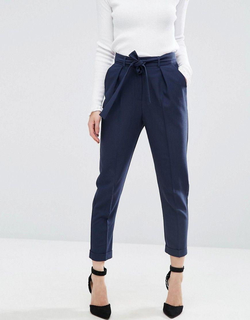 ASOS DESIGN Petite woven peg trousers with obi tie - Camel Asos Petite Pr2kZiDkW