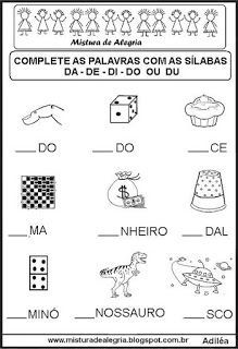 Atividades De Alfabetizacao Completar Silabas Atividades De