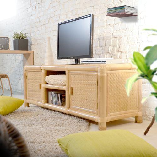 TV Möbel Hifi Fernseh Unterschrank TV Möbel TV Rack Möbel - bambus im wohnzimmer